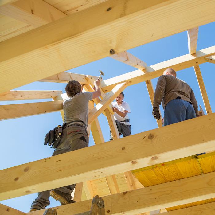 Carpenters building a house